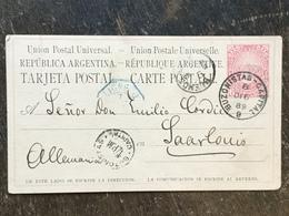 19 Argentinien Argentina Argentine Ganzsache Stationery Entier Postal Psc Von Buenos Aires Nach Saarlouis - Interi Postali