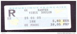 ##4, France, Courrier Recommandé, Lettre Enregistrée, Vignette D'affranchissement, Ema, Frama, Registered, Doulon - 2000 «Avions En Papier»