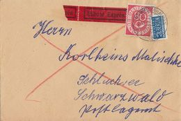Bund Brief Eilbote EF Minr.137 Weidenhausen 8.9.53 Gel. Nach Schluchsee - BRD