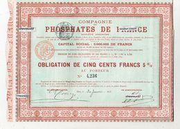 COMPAGNIE DES PHOSPHATES DE FRANCE - OBLIGATION DE CINQ CENTS FRANCS 5% - Shareholdings