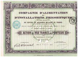 Action Ancienne -Compagnie D'Alimentation Et D'Installations Frigorifiques Titre De 1920 - - Industrie