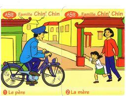 2 Cartes D'un Jeu De 7 Familles / Asie / Vélo Bicyclette Cyclisme Bicycle / Chine China - Cartes à Jouer