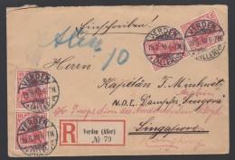 DR Auslands Einschreiben An Kapitän Dampfer Singora 1910 Verden Nach Singapor Weiterleitung Nach Honkong K61 - Deutschland