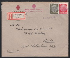 DR Einschreiben Deutsches Rotes Kreuz Tagesstempel Notstempel 1940 Dombrowa Oberschles. Nach Berlin K374 - Briefe U. Dokumente