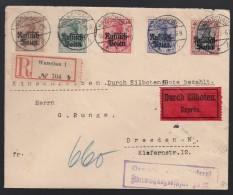 DR Einschreiben Eilbote Russisch Polen 1916 Warschau Nach Dresden K526 - Deutschland