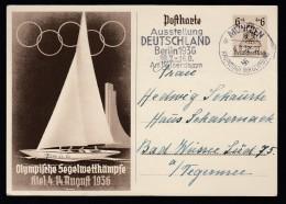 DR Ganzsache P261 Olympische Spiele 1936 München Nach Bad Wiessee K663 - Deutschland