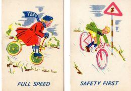 2 Cartes De Jeu / Garçon,Fille Sur Une Bicyclette / Circulation Routière Prudence à Vélo, Cyclisme - Playing Cards