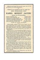 P474. Z.E.H. Karel Modest JACOBS - °POEDERLEE 1878 /MECHELEN /TISSELT /WEZEMAAL /+WESTMEERBEEK 1944 - Images Religieuses