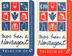 2-CARTES+-PREPAYEE-GB-5£/10£-TELECOM UK-DISCOUNT PHONECARD-TBE-RARE - Royaume-Uni