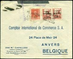 España 1938. Canarias. Carta De Las Palmas A Anvers. Censura. - Marcas De Censura Nacional