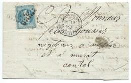 N° 29 NAPOLEON SUR LETTRE VILLEFRANCHE AVEYRON POUR MURAT 1870 - Postmark Collection (Covers)