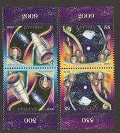 """LETONIA / LATVIA / LETTLAND / LETTONIE- EUROPA 2009 - TEMA """"ASTRONOMIA"""" - 2 SERIES PAR INVERTIDO- DENTADO (PERFORATED) - Europa-CEPT"""