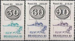 BRAZIL - COMPLETE SET BRASILIANA'83, RIO DE JANEIRO (BULL'S EYES STAMPS) 1983 - MNH - Briefmarkenausstellungen