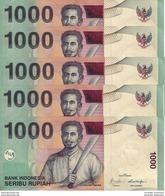 INDONÉSIE 1000 RUPIAH 2009 (2000) P-141j NEUF 5 PCS  [ID597j] - Indonesia