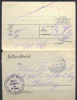 1916 , ALEMANIA , FELDPOST , CORREO DE CAMPAÑA , MARCA DE FRANQUICIA DE LA MARINA , GRAUDENZ - Cartas