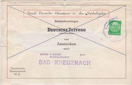 "GERMANY NETHERLANDS 1941 NEWSPAPER PACKET ADDRESS (creased) RAILW.PM ""Amsterdam-Bentheim"" - Germany"