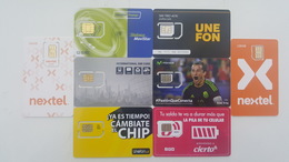 MÉXICO - LOT OF 8 GSM - SIM CARDS - UNUSED - Mexico