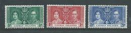 Cayman Islands 1937 KGVI Coronation Set 3 MNH - Cayman (Isole)