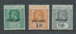 Cayman Islands 1919 - 1920 War Stamp Overprints 1/2d Green , On 2&1/2d Orange & 2d Grey MNH (3) - Cayman Islands