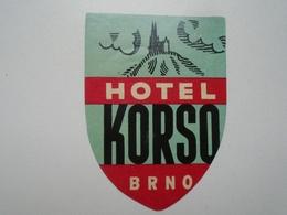D156546  Ceskoslovensko  BRNO  Hotel KORSO  - Hotel Label - Hotel Labels