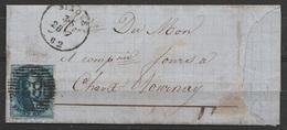 L. Affr. N°11 Càd NINOVE /28 7 1862 Pour TOURNAY (au Dos: Càd TOURNAI) - 1858-1862 Médaillons (9/12)