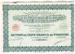 Action Ancienne - Sté Minière Et Agricole De La Côte D'Ivoire - Titre De 1929 - - Afrique
