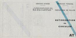 Autorisation De Circuler Juin 1946 Pour Véhicule CHENARD Et WALKER. Origine Préfecture Police Paris - Autres