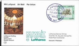 PRIMO VOLO LUFTHANSA - KUWAIT/KARACHI -  10.12.1989 - CARTOLINA UFFICIALE - Kuwait