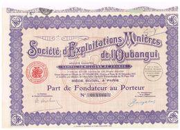 Action Ancienne - Lot De 2 Titres Sté D'Exploitaion Minière De L' Oubangui - Titre De 1928 - - Afrique
