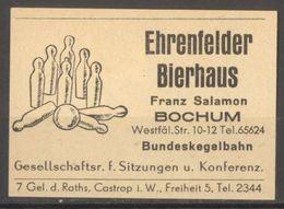 Bochum Ehrenfelder Bierhaus Etiquette Allumettes Matchbox Label Germany Allemagne - Zündholzschachteletiketten