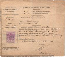 38 SAINT ETIENNE De ST GEOIRS QUITTANCE Des Droits De Succession 1868  Régis JOllans    * Z38 - 1800 – 1899