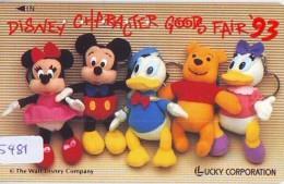 RARE Télécarte Japon / 110-011 - DISNEY - LUCKY CORPORATION (5481) Mickey Donald Winnie Pooh * Fair 93 * Japan Phonecard - Disney