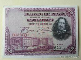 50 Pesetas 1928 - [ 1] …-1931 : Prime Banconote (Banco De España)