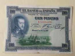 100 Pesetas 1925 - [ 1] …-1931 : Prime Banconote (Banco De España)