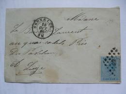 BELGIUM - 1869 Cover - Bruxelles To Liege - 1865-1866 Profil Gauche
