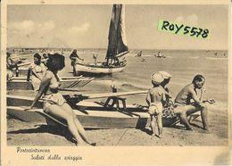 Marche-macerata-portocivitanova Saluti Dalla Spiaggia Animata Veduta Anni 40/50 Barca A Vela  Famiglia Su Salvapersone - Italia