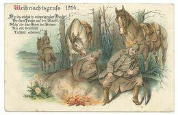 "Weihnachtsgruß 1914 Soldaten Am Lagerfeuer Stempel ""ROTES KREUZ Vereinslazarett Grossenhain"" - Guerre 1914-18"