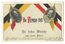 """Neujahr Kaiser Wilhelm & Kaiser Franz-Josef """"In Treue Fest"""" Gold-Prägedruck 1914 - Nouvel An"""