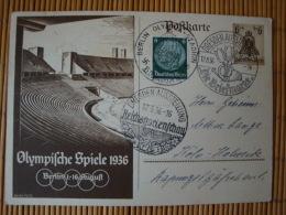 Sonderkarte Ganzsache Zu Den Olympischen Spielen 1936, Mit Zusatzfrankatur Und 3 Verschiedenen Sonderstempeln - Allemagne