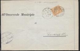 STORIA POSTALE REGNO - ANNULLO NUMERALE GC SBARRE BRESCIA (p.1) 108.05.1883 SU PIEGO  PER CORTICELLA PIEVE - 1878-00 Umberto I