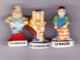 3 Fèves Mat Le Maçon Le Carreleur Le Charpentier Série Le Bricoleur Du Dimanche - Characters
