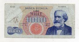 "Italia - Banconota Da Lire 1.000 ""Verdi ""- Medusa - 1° Tipo - ""R3"" - Decreto 4 Gennaio 1968 - (FDC7901) - [ 2] 1946-… : République"
