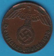 DEUTSCHES REICH 1 REICHSPFENNIG 1938 E KM# 89 (svastika) - [ 4] 1933-1945 : Third Reich