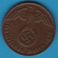 DEUTSCHES REICH 1 REICHSPFENNIG 1938 J KM# 89 (svastika) - [ 4] 1933-1945 : Third Reich