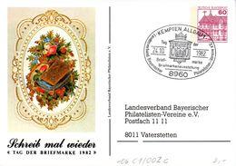 """BRD Privatganzs.-Postkarte PP106 C1/002c """"Tag Der Briefmarke 1982"""" SST 24.10.1982 KEMPTEN, ALLGÄU 1 - Postales Privados - Usados"""
