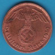 DEUTSCHES REICH 1 REICHSPFENNIG 1939 G KM# 89 (svastika) - 1 Reichspfennig