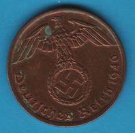 DEUTSCHES REICH 1 REICHSPFENNIG 1940 A KM# 89 (svastika) - [ 4] 1933-1945 : Third Reich