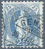 Stehende Helvetia 73E, 25 Rp.blau  GENEVE / RETOUCHE            1904 - Usati