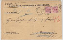 Brief Vom Gerichtsvollzieher Aus HOHENHAUSEN (LIPPE) 4/12. 92 KOS Stempel  Rückseite! - Briefe U. Dokumente