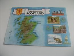 CARTA GEOGRAFICA  GREETINGS FROM SCOTLAND  STEMMA VEDUTINE  PIEGHE - Carte Geografiche